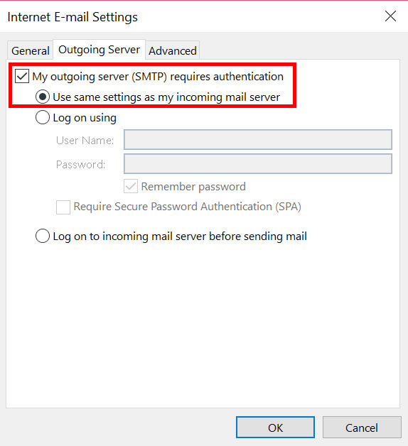 Outlook 2010 outgoing authentication